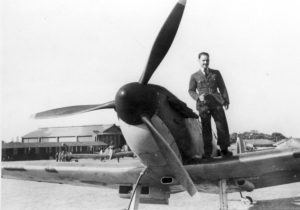 A famous photograph - John Freeborn on his Spitfire's wing.