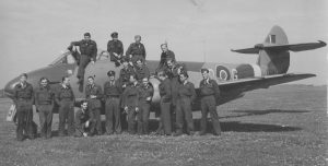 74 Squadron Colerne 1945. Hugh in cockpit. CO Wg Cdr Kennard immediately below Hugh.