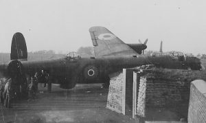 74 Squadron Colerne. Lanc swings on take off and crashes into 74`s dispersal.