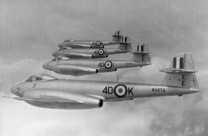 Meteor F Mk 8s May 1951. Still carrying wartime 4D codes