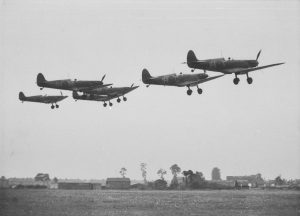 Spitfires of 74 Squadron JHF-JHC-JHH-JHG taking off from RAF Hornchurch 8th August 1939.